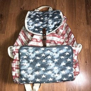 Distressed Stars and Stripes canvas backpack